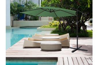 Milano 3M Outdoor Umbrella Cantilever Sun UV Patio Garden Beach Shade Deck Stand - Green