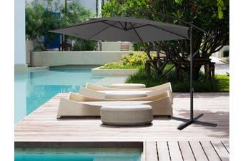 Milano 3M Outdoor Umbrella Cantilever Sun UV Patio Garden Beach Shade Deck Stand - Charcoal