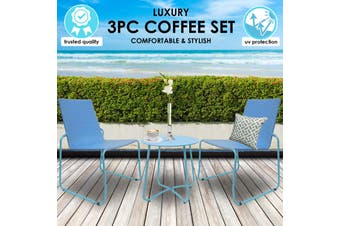 Milano 3pc Outdoor Furniture Steel/Rattan Coffee Table & Chairs Patio Garden Set - Blue