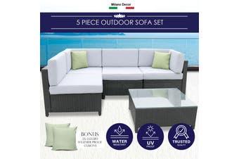 Milano 5 Piece Wicker Rattan Sofa Set Black Grey Outdoor Lounge Patio Furniture