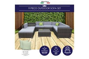 Milano 9 Piece Wicker Rattan Sofa Set Oatmeal Grey Outdoor Lounge Furniture