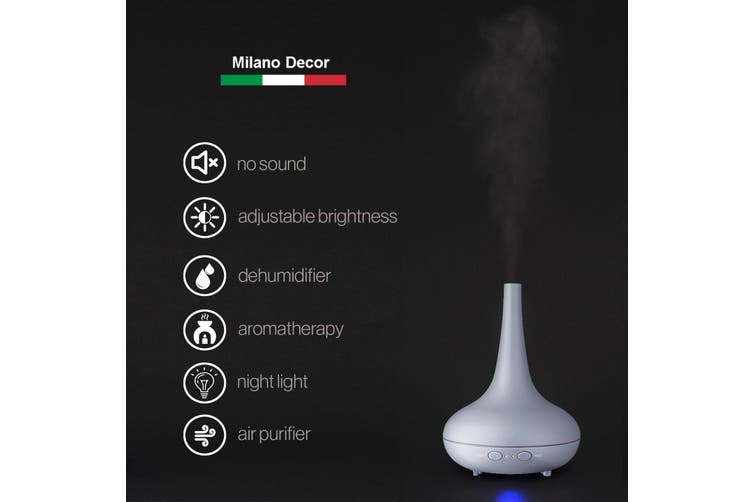 Essential Oil Diffuser Ultrasonic Humidifier Aromatherapy LED Light 200ML 3 Oils - Matte Grey