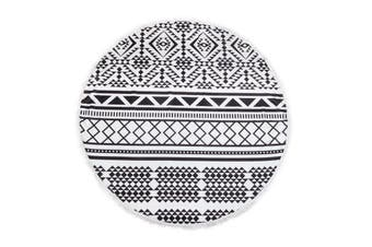 Milano Round Beach Towel with Tassels Print 140 cm 350 GSM Microfibre Blanket - Aztec