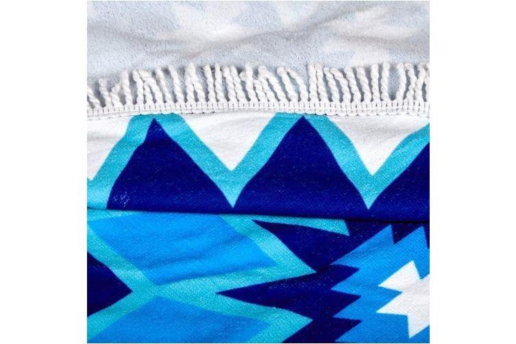 Milano Round Beach Towel with Tassels Print 140 cm 350 GSM Microfibre Blanket - Belize