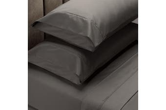 Renee Taylor 1500 Thread Count Pure Soft Cotton Blend Flat & Fitted Sheet Set - King - Dusk Grey