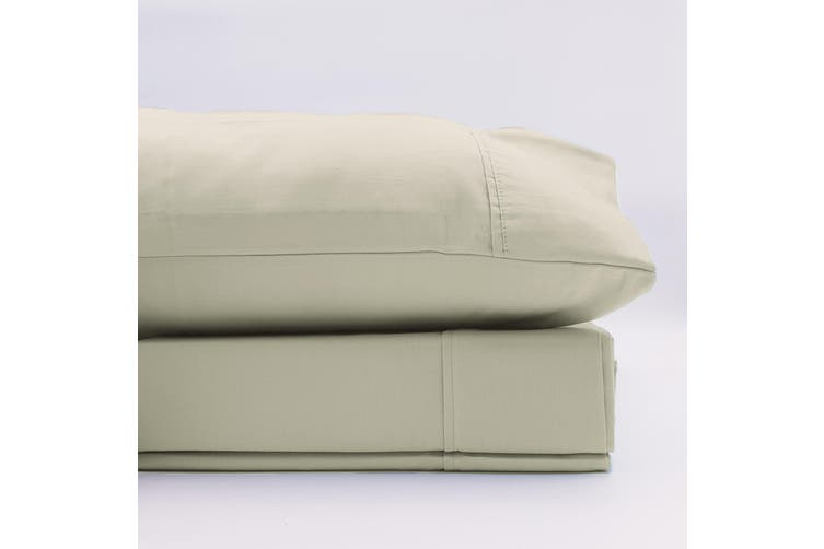 Renee Taylor 1500 Thread Count Pure Soft Cotton Blend Flat & Fitted Sheet Set - King - Ivory