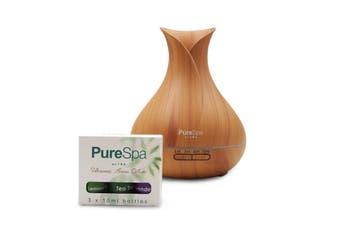 PureSpa Ultra Aroma Diffuser 550ml Ultrasonic Aromatherapy Humidifier Purifier - Light Wood