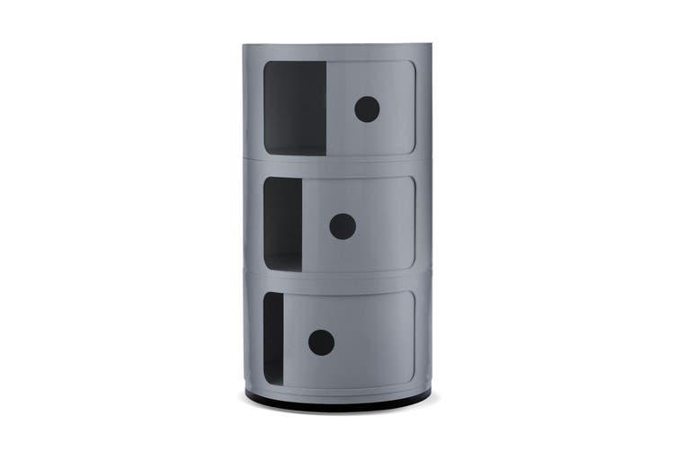 3-Draw Retro-Style Cylinder Tower Storage Drawer Organiser Cabinet Unit - Silver