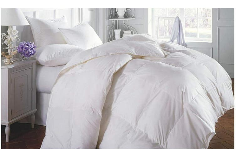 Duck Feather & Down Quilt 500GSM + Duck Feather and Down Pillows 2 Pack Combo - Queen - White