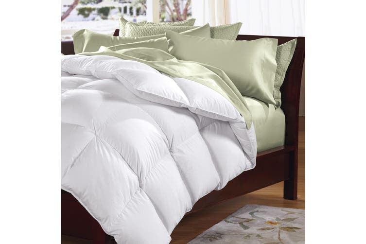 Goose Feather & Down Quilt 500GSM + Goose Feather and Down Pillows 2 Pack Combo - Single - White