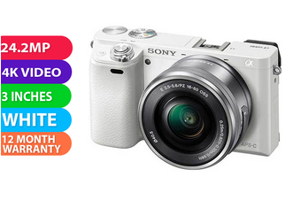 Sony Alpha A6100 (16-50mm) Kit White - (FREE DELIVERY)