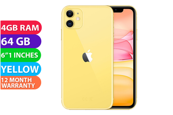 Apple iPhone 11 4G LTE (64GB, Yellow) - FREE DELIVERY