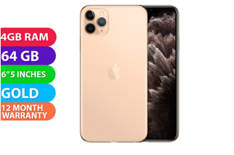 Apple iPhone 11 Pro Max 4G LTE (64GB, Gold) - FREE DELIVERY