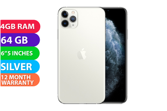 Apple iPhone 11 Pro Max 4G LTE (64GB, Silver) - FREE DELIVERY