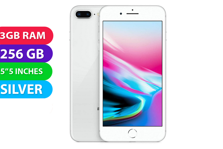 Apple iPhone 8+ Plus 4G LTE (256GB, Silver) - Used as Demo