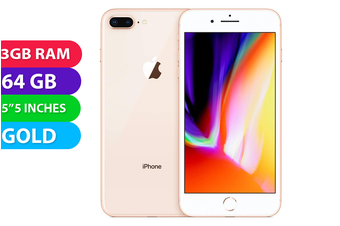 Apple iPhone 8+ Plus 4G LTE (64GB, Gold) - As New