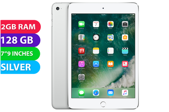 Apple iPad mini 4 Wifi + Cellular (128GB, Silver) - As New