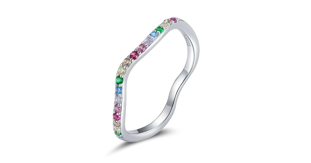 Rainbow Bridge Silver plating Wave Finger Rings for Women