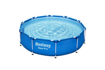 Round Swimming Pool Above Ground Pool 3.05 x 0.76M with Filter Pump, Steel Frame