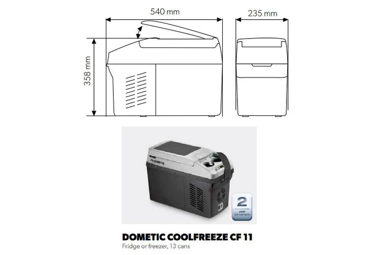Dometic Portable Fridge Freezer 10.5L Cooler 12 24 240V CoolFreeze CF11 Camping