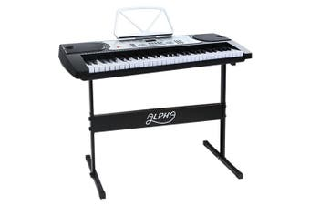 Portable Electric Piano Keyboard 61 Keys w/ Sheet Holder & Stand - Silver&Black