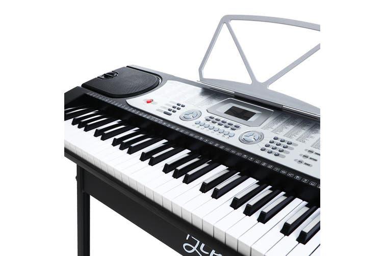 Portable Electric Piano Keyboard 61 Keys w/ Sheet Holder & Stand - Silver&Black
