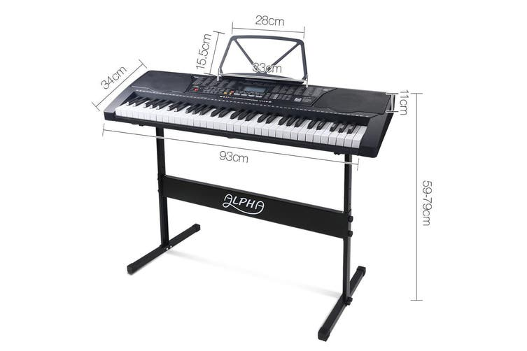 Electric Piano Keyboard 61 Lighted Keys with Music Sheet Holder & Stand