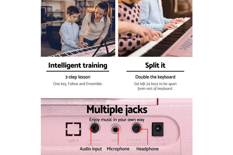 Portable Electric Keyboard 61 Keys with Music Sheet Holder & Stand -Pink & Black