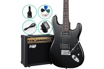 Electric Guitar & 20W Amplifier AMP with Carry Bag, Strings Tuner Strap - Black