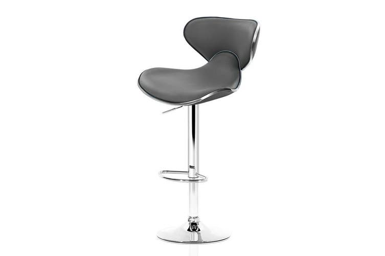 2x Bar Stools Gas lift Swivel Chairs Kitchen Leather Chrome Grey
