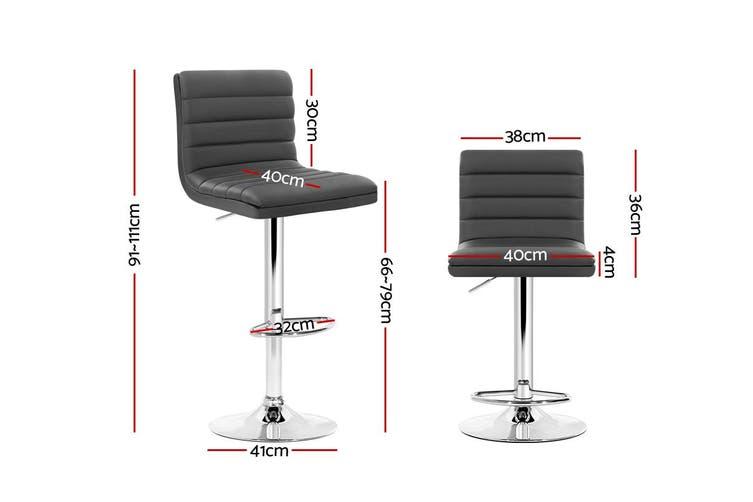 2x Bar Stools Swivel Gas Lift Kitchen Chairs PU Leather Chrome - Grey