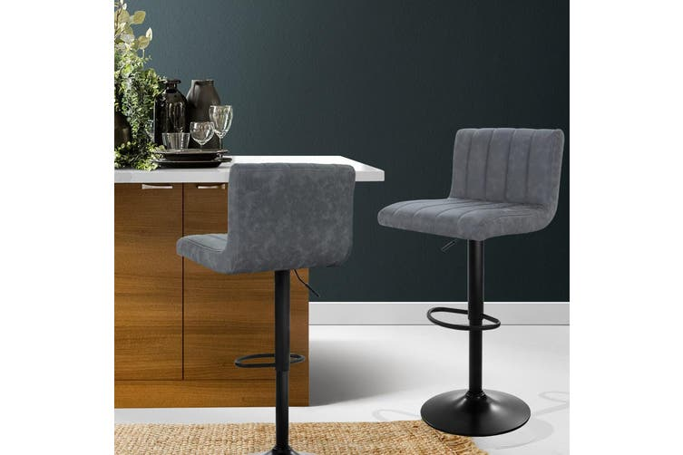 2x Bar Stools Kitchen Dining Chair Padded Seat Backrest Vintage Grey PU leather