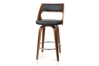 Set of 2 Wooden Bar Stools PU Leather Padded Seat - Black