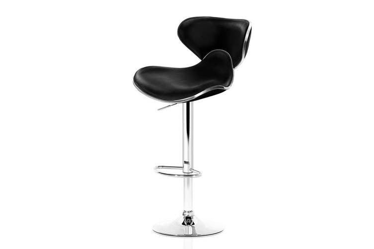 2x Bar Stools Swivel Dining Chair Adjustable Height Black Leather Seat, Backrest