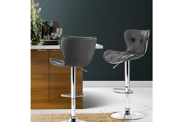 2x Kitchen Bar Stools Gas Lift Stool Chairs Swivel Barstools Leather Grey