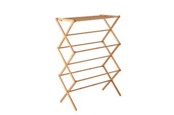 Clothes Drying Bamboo Rack Towel Hanger Laundry Dry - Foldable