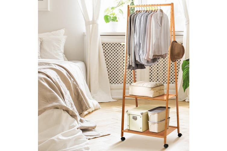 Clothes Rack Storage Stand - Bamboo Hanger Stand Wooden