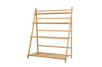 Bamboo Wooden Ladder Shelf Plant Shelf Foldable