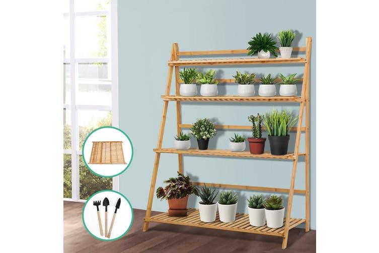 Bamboo Wooden Ladder Shelf Plant Shelf Foldable