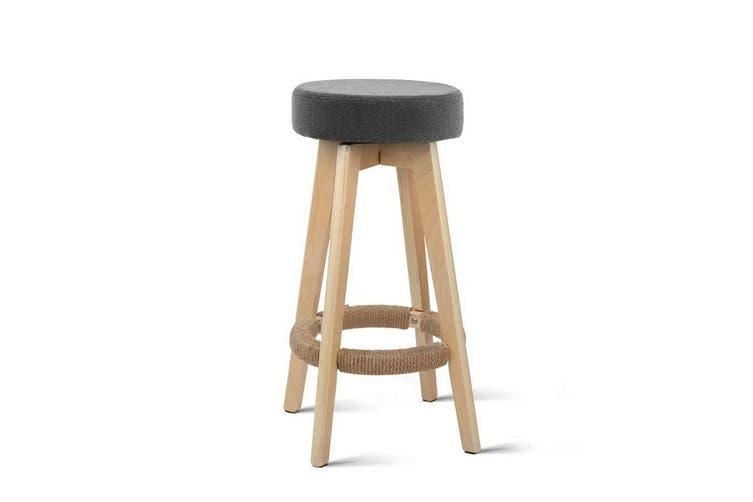 2x Kitchen Bar Stools Wooden Bar Stool Swivel Barstools Counter Chairs 74cm Fabric Grey