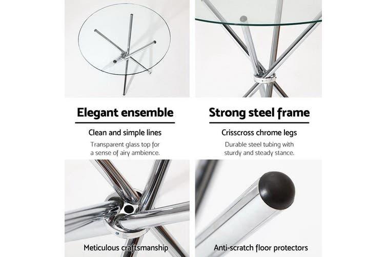 Round Dining Table 4 Seater 90cm Tempered Glass Clear Chrome Steel Legs Matt Blatt