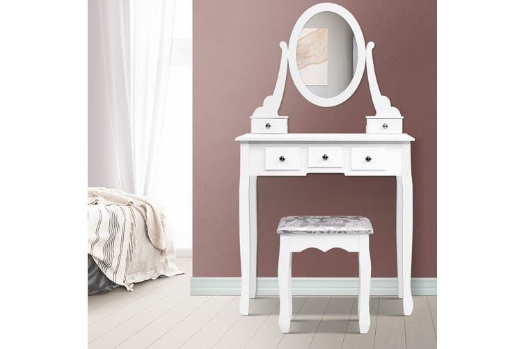 Dressing Table and Stool Set with Mirror - White