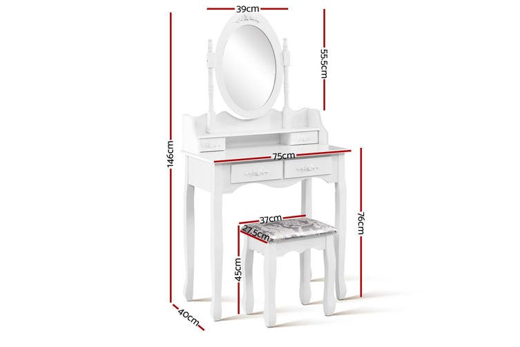 Dressing Table with 4 Drawers, Stool & Mirror - White