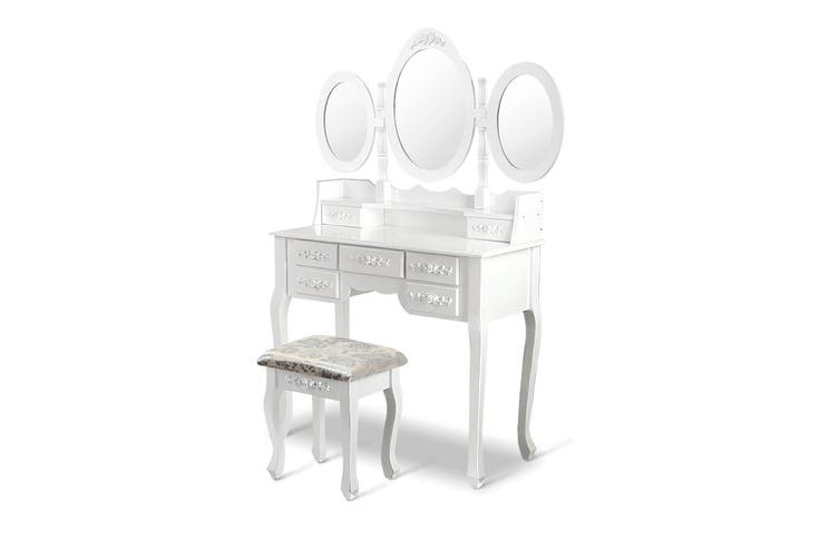 Dressing Table 7 Drawers with 3 Mirrors and Padded Stool - White Elegant Design