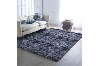 Gradient Shaggy Rug 200x230cm Carpet Area Rugs Dark Grey