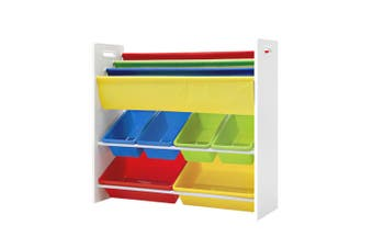 Kids Bookshelf and Toys Cabinet with 3 Tier Shelf, 6 Storage Boxes