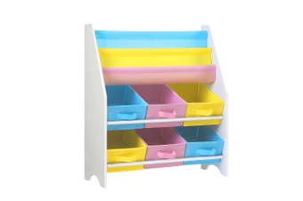 Kids Bookcase 3 Tier Bookshelf & Toy Storage Cabinet - White