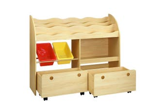 Kids Bookcase 3 Shelf with Toy Storage Cabinet & Drawers - Natural Wood Color