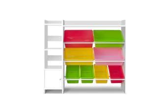 Kids Storage Cabinet & Bookshelf with 8 Plastic Bins