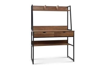 Office Computer Desk with Top Shelf / Bookshelf Industrial Wood Look Black Frame